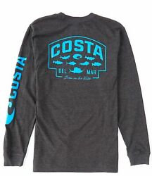 40% Off Costa SP Badge Long Sleeve T shirt Dark Heather Pick Size Free Ship $17.95