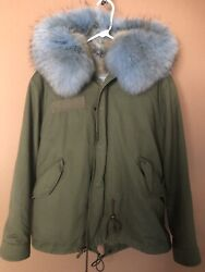 Mr amp; Mrs Italy Patch Fox Racoon Fur Army Parka Small $900.00