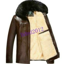 Mens Fur lined Winter Warm pu jackets faux Motorcycle Fox Fur Collar Coats $59.49