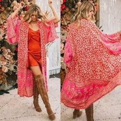Womens Boho Floral Print Casual Loose Shawl Kimono Cardigan Cover Up Tops Beach $12.82