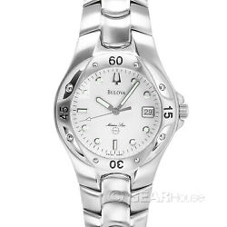 BULOVA Marine Star Mens Swiss Made Watch Silver Stainless Steel Link Band Date $102.80
