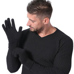 Winter Warm Windproof Men Knitted Gloves Finger Mittens Wool Knit Couple Gloves $3.54