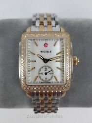Michele Deco 16 Mid Gold Silver Two Tone Diamond Watch MWW06V000023 Refurb Box $1139.99