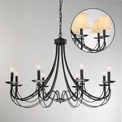Farmhouse Chandelier Black Iron Ceiling Light Fixture Rustic Dining Hanging Lamp $219.86