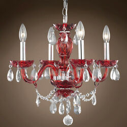 JOSHUA MARSHAL 701423 006 Victorian 4 Light 17 Red Chandelier With Clear $233.00