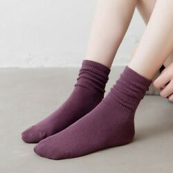 Color Girls Ladies Japanese Pile Socks Women Socks Cotton Socks Mid tube Socks $2.21
