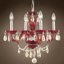 JOSHUA MARSHAL 701423 004 Victorian Design 4 Light 17 Red Chandelier With $254.00
