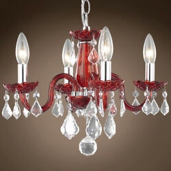 JOSHUA MARSHAL 701417 012 Victorian 4 Light 15 Red Chandelier With Clear $248.21