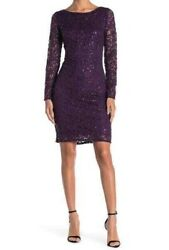 Marina Sequin Lace Long Sleeve Sheath Dress Eggplant Size XL🔥 $23.74