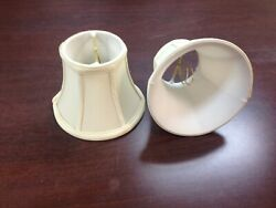 Set of 2 Mini Chandelier Lamp Shades white Fabric 5quot;H Clip On Bell Shaped $22.00