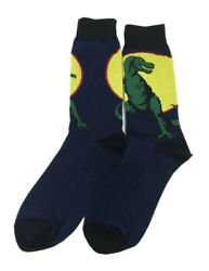 Set of 2 Pairs Men Novelty Fun Cotton Crew Socks Dino Design $14.99