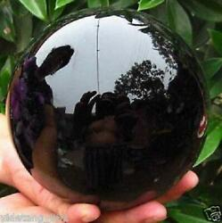 US 80MM stand Natural Black Obsidian Sphere Large Crystal Ball Healing Stone $20.45