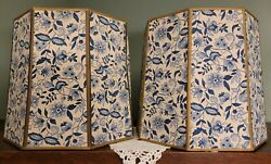 Vintage Blue amp; Cream Floral with Gold Trim Octagon Lamp Shades x 2 Beautiful $179.99