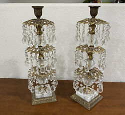 Vintage Pair Table Lamps Candle Brass Crystal Prisms Ornate Regency 3 Tier $349.98