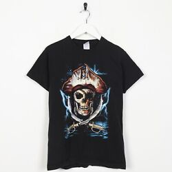 Vintage Kids Boys Big Novelty Graphic Pirate Print T Shirt Black 12 13 Years $11.29