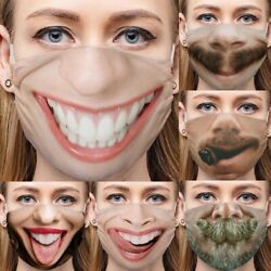 Women Funny Washable Facemask Half Face Mouth Mask HipHop Cospaly Party Mask $6.78