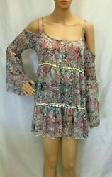 Women#x27;s S.O.R.A.D. by ATV Cold Shoulder Floral Boho Style Blouse Size Small EUC $14.99