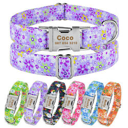 Floral Nylon Dog Collar Personalized Engraved Custom Pets Name Metal Buckle S XL $9.99