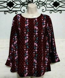 Old Navy Top Size M 3 4 Sleeve Burgundy Floral Round Neck Blouse $8.00