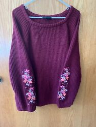 Lane Bryant Womens Maroon Sleeve Embroidery Long Sleeve Soft Knit Sweater 26 28 $3.99