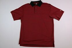 Footjoy Golf Polo Shirt Polyester Red Black Striped Men#x27;s Large $16.99