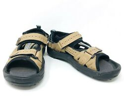 FootJoy Cooljoys Golf Sandals Leather Straps Softspikes Tan Black 48786 Size 9m $34.97
