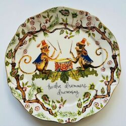 NEW Anthropologie Inslee Fariss 12 Days of Christmas Plate 12 DRUMMERS DRUMMING $42.99