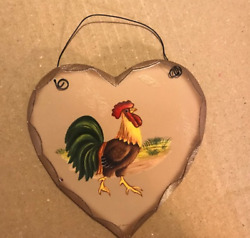 wood heart rooster country primitive wall chicken home kitchen decor wood sign $7.99