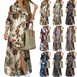 Womens Holiday Sexy Button Down Loose Tops Maxi Dresses Casual Camo Shirt Dress $28.97