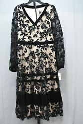 Taylor Lace Dress Women#x27;s Size 10 Black Nude $40.00