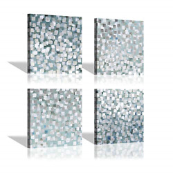 Gray Abstract Canvas Wall Art: Silver Foil amp; Grey Squares Pictures Modern for x $63.54
