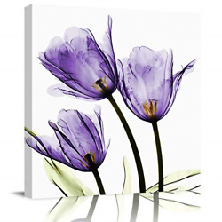 EZON CH Square Wall Art Canvas Oil Painting Purple Tulip Flower X ray Office to $25.96