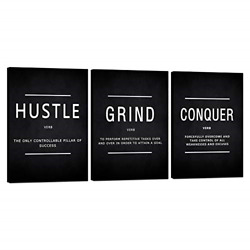 Motivational Canvas Wall Art Grind Hustle Conquer Office Wall Decor Framed for $50.39