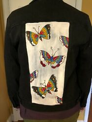 New Hand Painted Black Women#x27;s Jean Jacket with Butterflies $140.00