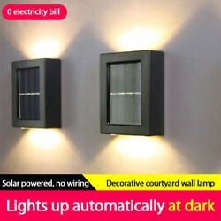 2 LED Solar Wall Lights Outdoor Upamp;down Decorative Lamp Sconce Waterproof IP65 ✅ $16.56