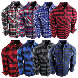 Flannel Plaid Shirt Mens Western Button Pockets 8 New Cool Colors Long Sleeve a $18.95