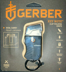 Gerber Key Note Black Folding Knife With Clip Key Ring 1quot; SS Blade NEW $28.98