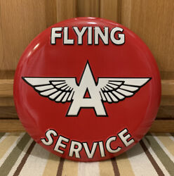 Flying A Service Sign Metal Garage Wall Decor Gas Oil Vintage Style Embossed $45.00