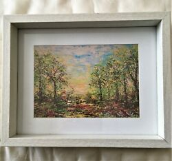 LANDSCAPE FRAMED ART PRINT FROM ORIGINAL PAINTING ARTIST SIGNED FREE SHIPPING $14.00