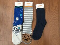 New Gymboree Boys Novelty Socks 3 Pairs Astromaut Moon Soccer Bear Size L 10 12 $11.70