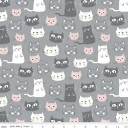 cats gray pink cute pets fabric 100% cotton RIley Blake Purrfect day fabric $14.39