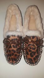 J Crew factory New Leopard Womens calf hair moccasin slippers Size 9 $39.95