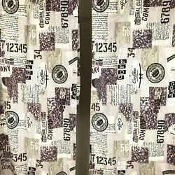 """Coffee Themed Kitchen Curtains 2 Panels Long 40"""" X 94"""" $20.75"""