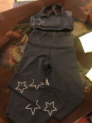 Strut This Women#x27;s Star Ankle Black Leggings And Top Size XS Set 2 Pieces $60.00