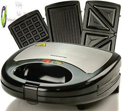 Ovente Electric Indoor Sandwich Grill Waffle Maker Set With 3 Removable Non Stic $35.85