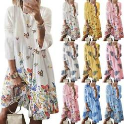 Women Boho Shirt Dress Loose Summer Holiday Casual Beach Tunic Dresses Plus Size $14.72