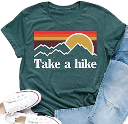 Pfvkeree Women Funny Graphic T Shirt Take A Hike Letter Print Summer Short Sleev $22.99