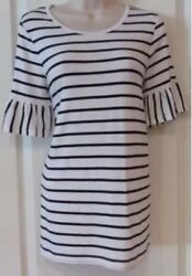 NWT Women#x27;s PHILOSOPHY Black whiteStripe Ruffle Short Sleeve Shirt Top Sz MEDIUM