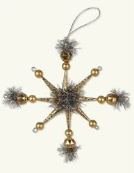 Victorian Trading Co Gold Star Christmas Tree Ornament Set 4 45D $19.99