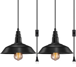 2 Pack Plug In Hanging Lamps Pendant Ceiling Light Shade Pendant Light Fixture $36.99